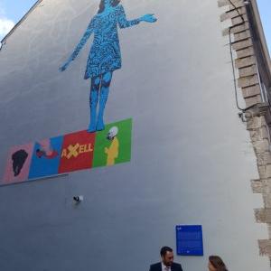 """Fresque d Ania Zuber et Manuel Gonzalez Bustos, dediee a Evelyne Axell, face aux """"Beaux-Arts"""""""