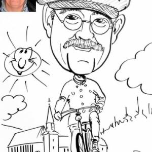 "Caricature de Dirk Van Luchem, president IVCA, ""International Veteran Cycle Association"""