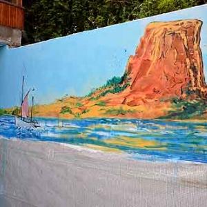 Peinture sur mur pour une piscine