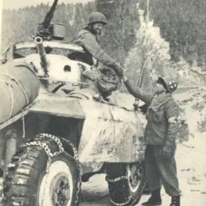 Jonction de la 3eme et de la 1ere Armee US a Houffalize le 16 janvier 1945