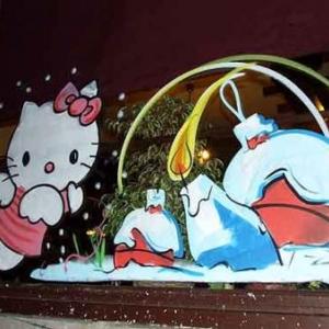 Charleroi - Peinture sur vitrine pour Noel-7433