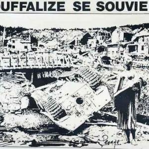 Le pont de la route de La Roche, avec le Panzer dans l'Ourthe. Dessin original de Jean-Marie Lesage.