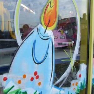 Peinture sur vitrine pour Noel-7532