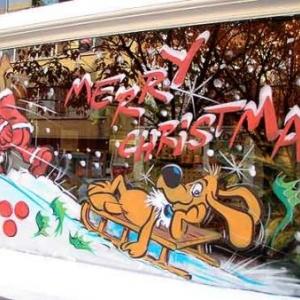 Boule et Bill en papa NOEL sur les vitrines de Jette - 44