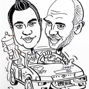 caricature pilote voiture rallye avec pub