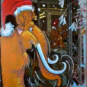 PARIS-peinture sur vitrine pour NOEL-2332