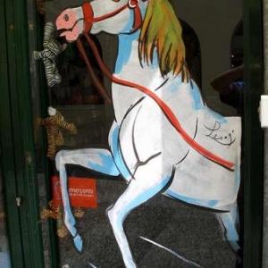 Jumping, international, peinture sur vitrine, Paris, Jean-Marie Lesage