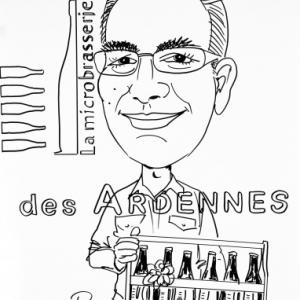 caricature de Dominique Gilbert le brasseur de la Microbrasserie des Ardennes