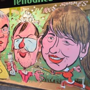 caricature de Carole Stabel sur les vitrines peintes pour NOEL par Jean-Marie Lesage