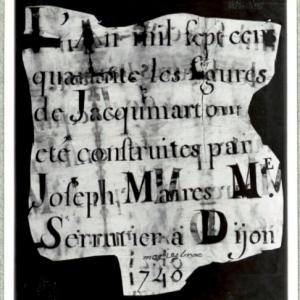 Document trouvé dans la tête du Jacquemart lors de sa restauration en 1938 ( Bibliothèque municipale de Dijon )