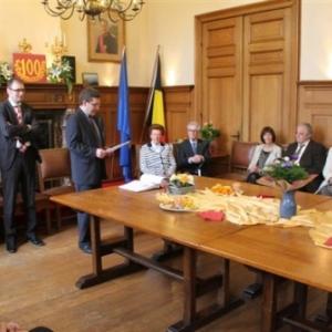 Reception communale : intervention du 1er Echevin, Andre - Leon Denis ( photo de Michael ALMER )