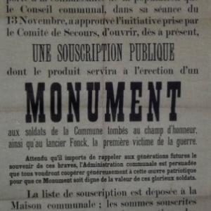 La souscription publique pour l' erection du monument