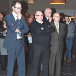 JP Bastin ( Bourgmestre), M. Distree ( President ), M. Stolberg ( President de la Federation musicale ), M. Dasnoy ( President d'Honneur ) ( Photo de G. Blanchy ) )