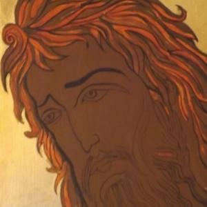 Icone en cours de realisation avant de commencer la carnation ( la montee des lumieres )