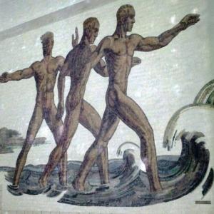 La mosaïque symbolique dans la piscine