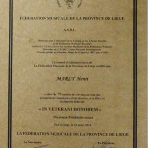 """Reception """" Royale Malmedienne """" : la Reconnaissance de la Federation musicale"""