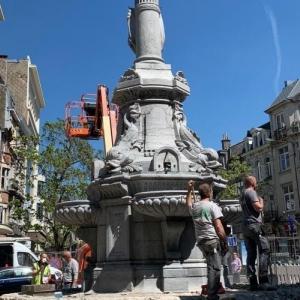 La fontaine Pierre David en réfection