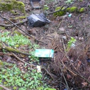 Operation Communes et Rivieres Propres : nettoyage du chantoir des Pneus à Piromboeuf, pres de Harze / Aywaille (speleos du club C7-CASA)