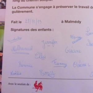 Charte signee par les eleves de Burnenville
