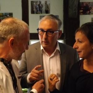 Reception : Michel BRONLET, Direteur avec Mme Monica Dethier et M. Yves Reinkin, Députés.