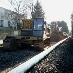 Les travaux d'enfouissement en cours a l'entree de Malmedy ( route de Bellevaux )