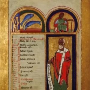 Enluminure de St Jacques ( technique du lavi ( teinte verte marbree )