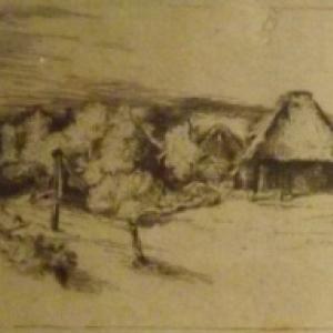 Paysage avec des arbres, des batiments de ferme et une tour  ( vers 1651 )