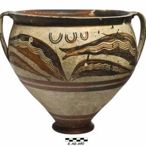 Cratere en cloche mycenien decore aux dauphins. Kalavasos Agios Dimitrios Tombe 11. Age du Bronze récent 14e siècle av. J.C.