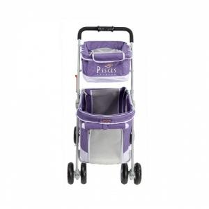 PHOTO 39 : Poussette Duo violette pliable pour chiens de moins de 17kgs, equipee de 2 compartiments.  H. 100 x L.65 x l.51 cm. poche de rangement, freins ,housse de pluie en option