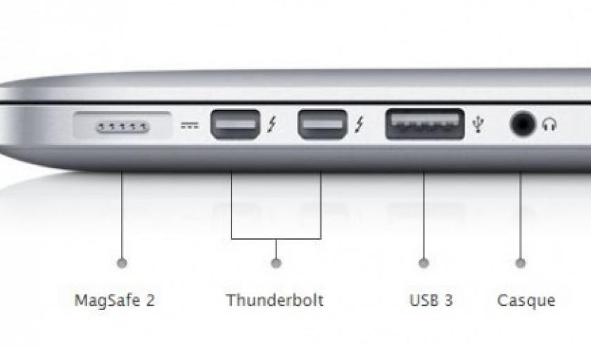 2 entrees Thunderbolt sur MacBook Pro Retina 15 pouces