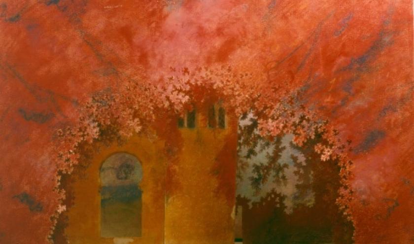 Jean DELESCLUZE (1871-1947) Decormaquette voor Parsifal van Wagner, 1914 aquarel, pastel en potlood op papier (Brussel, De Munt)