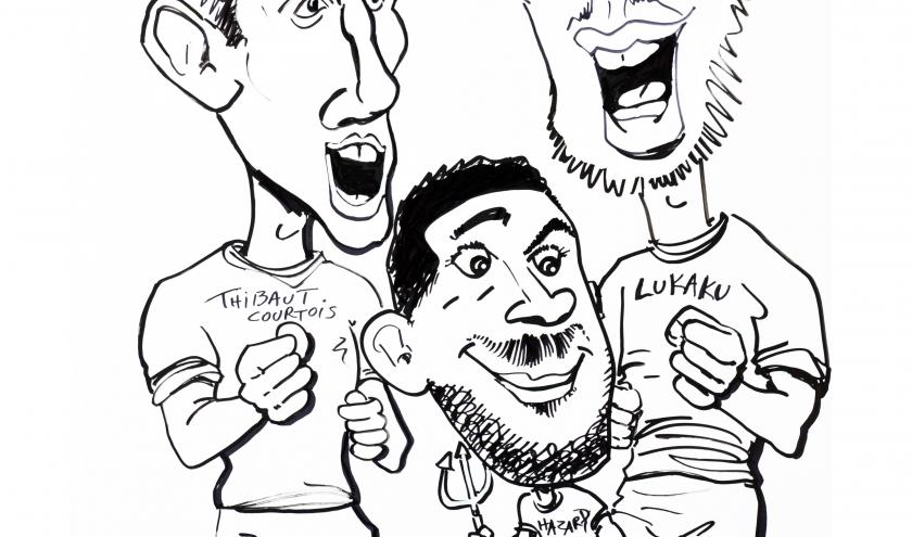 caricature Hazard, Courtois, Lukaku des Diables Rouge 2021