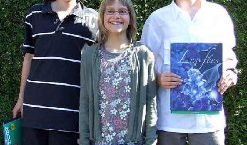 1er. Quentin Thomas  ,2. Louise vieuxtemps , 3. Simon Martin , concours de dictee 2008, photo 4035