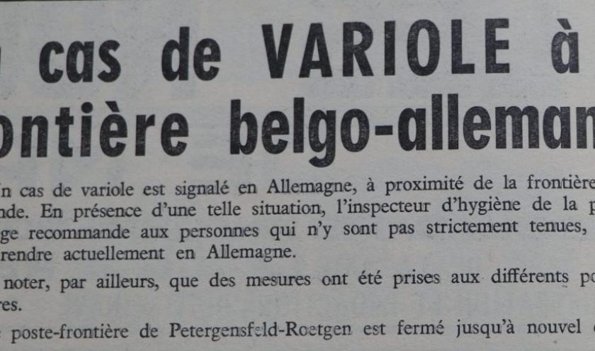 """Cas de variole ( """" Nouvelles de Malmedy du 3 février 1962 """" )"""