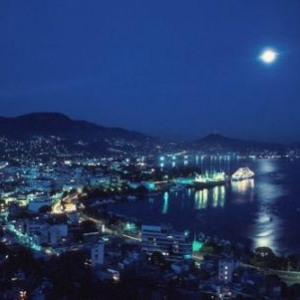 Panoramic View at night of the Bay of Acapulco