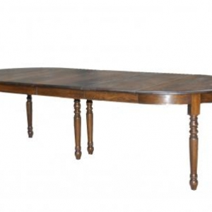 table ronde en chene massif avec 3 allonges