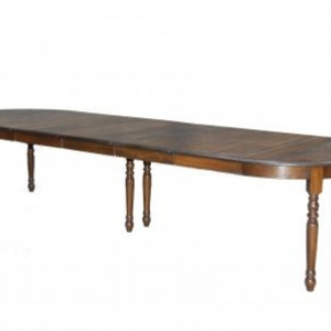 table ronde en chene massif avec 5 allonges