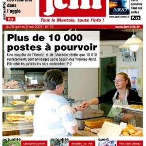 Journal de Mantes la jolie, peinture sur vitrine du belge Jean-Marie Lesage