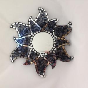 miroir mosaique noir