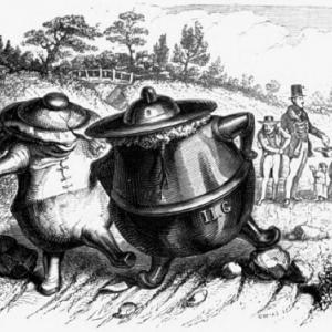 Le pot de fer et le pot de terre. A l'arrière, le capitalisme qui, à l'époque, faisait encore l'aumone aux pauvres.