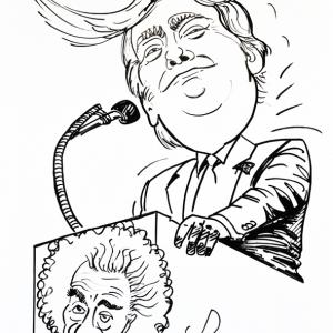 """Donald Trump affirme que """"Le Coronavirus, se soigne à l'eau de javel"""" tandis qu'Albert Einstein en doute !!! """".. Après les masques, le vaccin. SOS Dunning-Kruger. Caricature de jean-Marie Lesage."""