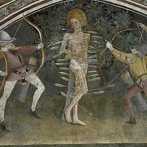 Comme un herisson: les fleches, fort nombreuses, imposent une lecture de Sebastien atteint par la peste.