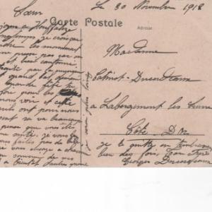30 nov. 1918. Manifestement envoi de Houffalize sous enveloppe. Destinataire: Cote d'Or. La veille de rejouissances.