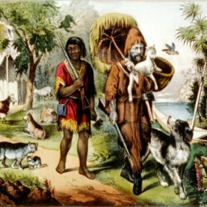 Robinson Crusoe et Vendredi. Friday.