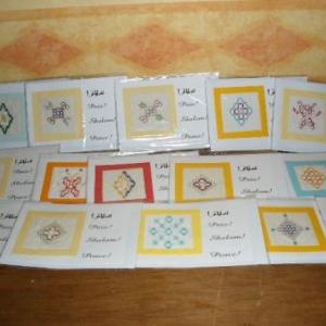 """cartes de voeux avec broderies """"fait main"""" (1,50 euro; 1,25  par 5)"""
