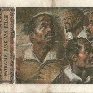 "Billet de 500 francs belges dit ""têtes de nègres"" 1958. La peinture est de P.P. Rubens"
