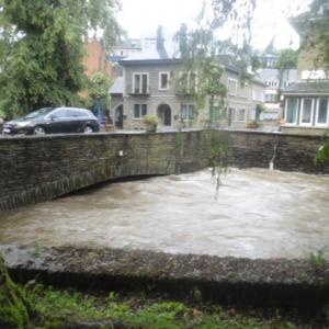 L'Ourthe en aval du pont de la rue Porte à l'Eau (Résidence de l'Ourthe)