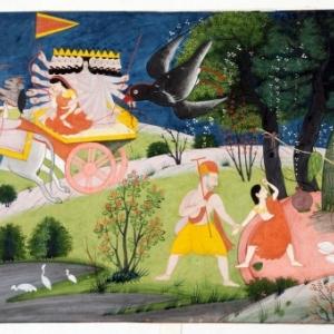 Ontvoering van Sita uit Panchavati door Ravana. De vogel Jatayu probeert haar te redden.Chamba-stijl, Pahari, einde 18de eeuw