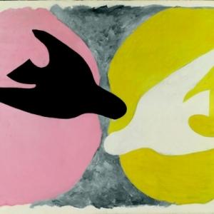 L'Oiseau noir et l'oiseau blanc, huile sur toile ; 134 x 167,5 cm, collection particulière,© Leiris SAS Paris © Adagp, Paris 2013