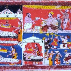 Feest in Ayodhya: de geboorte van Rama en zijn drie broers, Malwa-stijl, Centraal-India, ca. 1650-1660